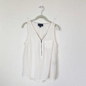 [Patterson J. Kincaid] 100% Silk Zip Front Blouse